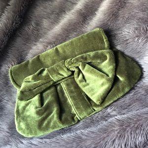 HANDMADE Olive green velvet bow clutch